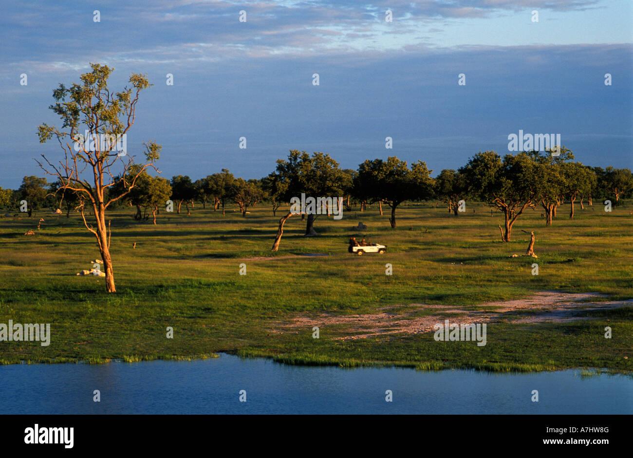 Tourist vehicle Hwange National Park Zimbabwe Stock Photo