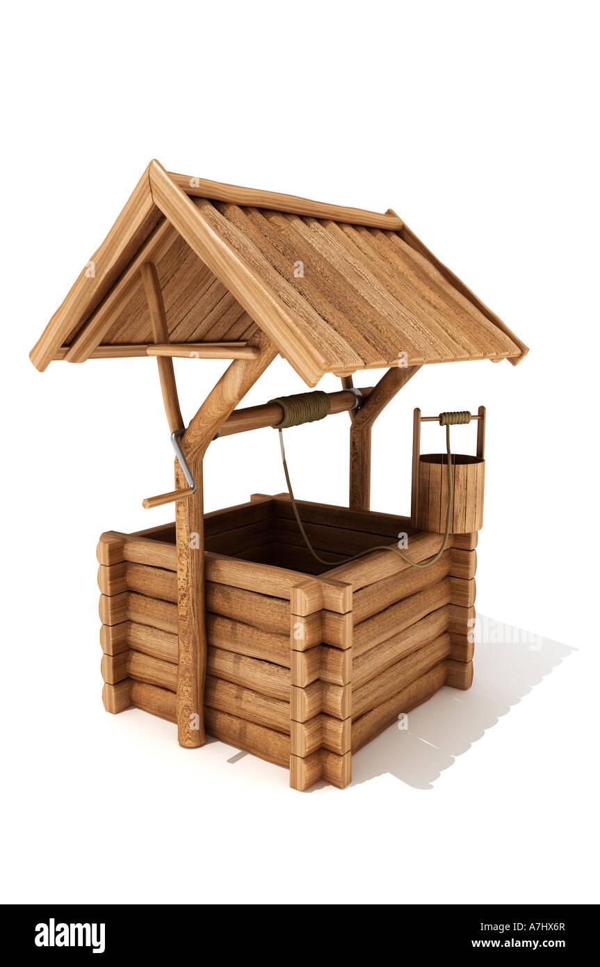 Wooden wishing well - Stock Image