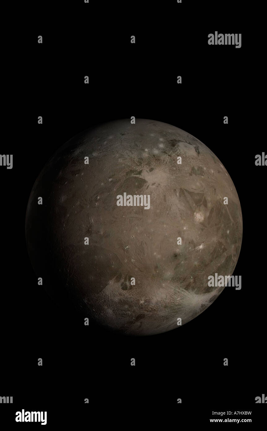 3D model of Ganymede Jupiters largest moon using NASA imagery - Stock Image