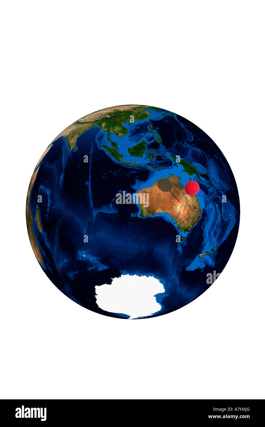 Globe of earth with red map pin stuck on australia stock photo globe of earth with red map pin stuck on australia gumiabroncs Images
