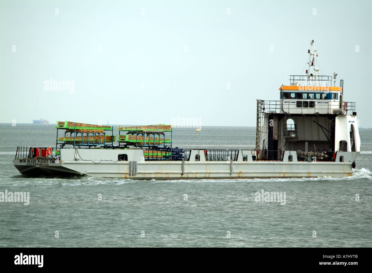The MTB Blade Runner Two barge on Southampton Water southern England United Kingdom UK - Stock Image
