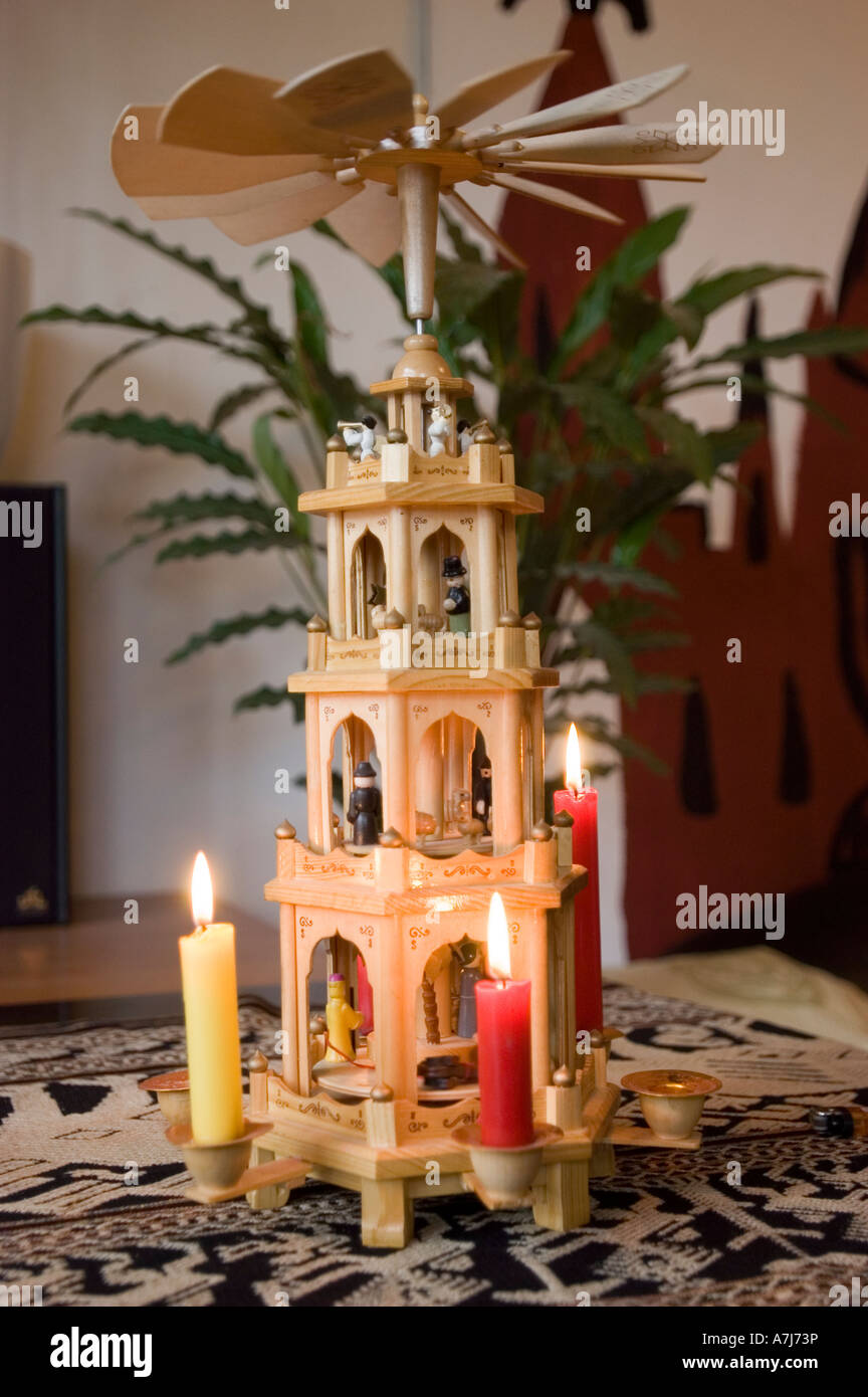 wooden traditional german christmas pyramid weihnacht pyramide with lighting candles berlin germany stock image