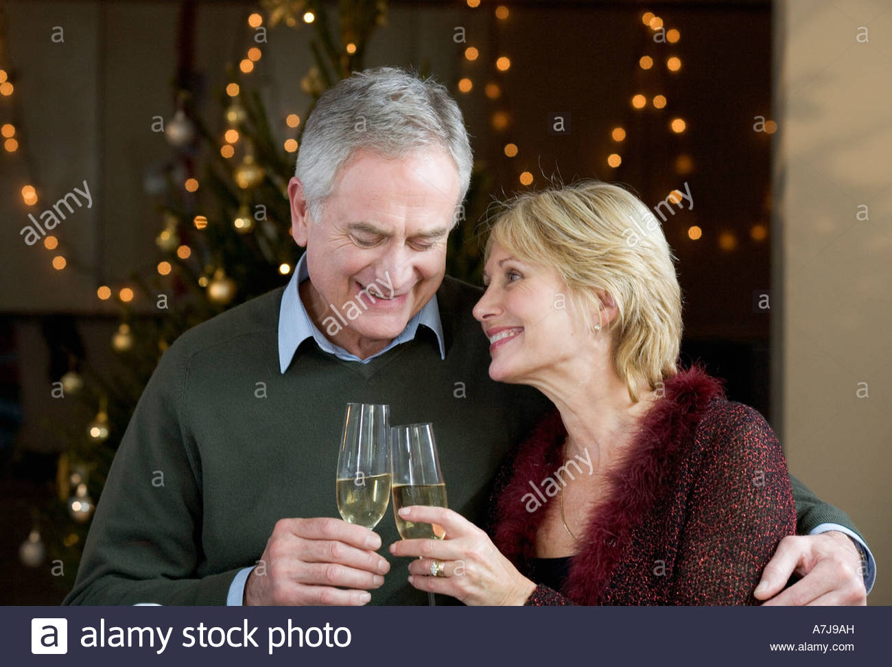 A senior couple drinking champagne Stock Photo