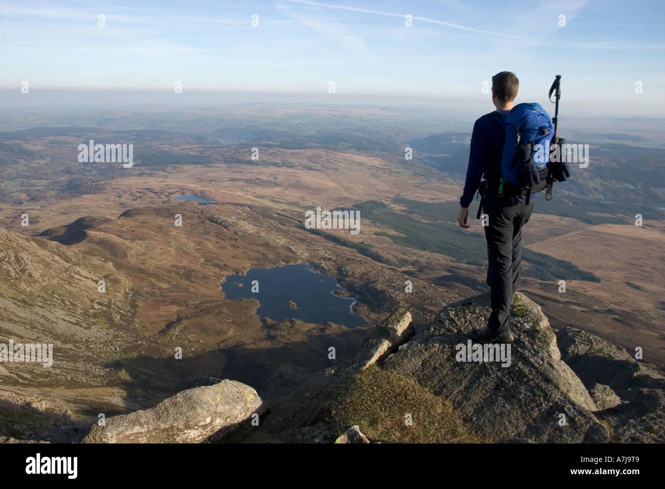 Hillwalker on Moel Siabod Snowdonia - Stock Image