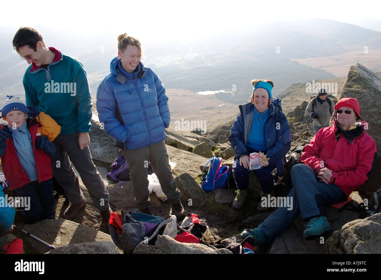 Hillwalkers on the summit of Moel Siabod Snowdonia - Stock Image