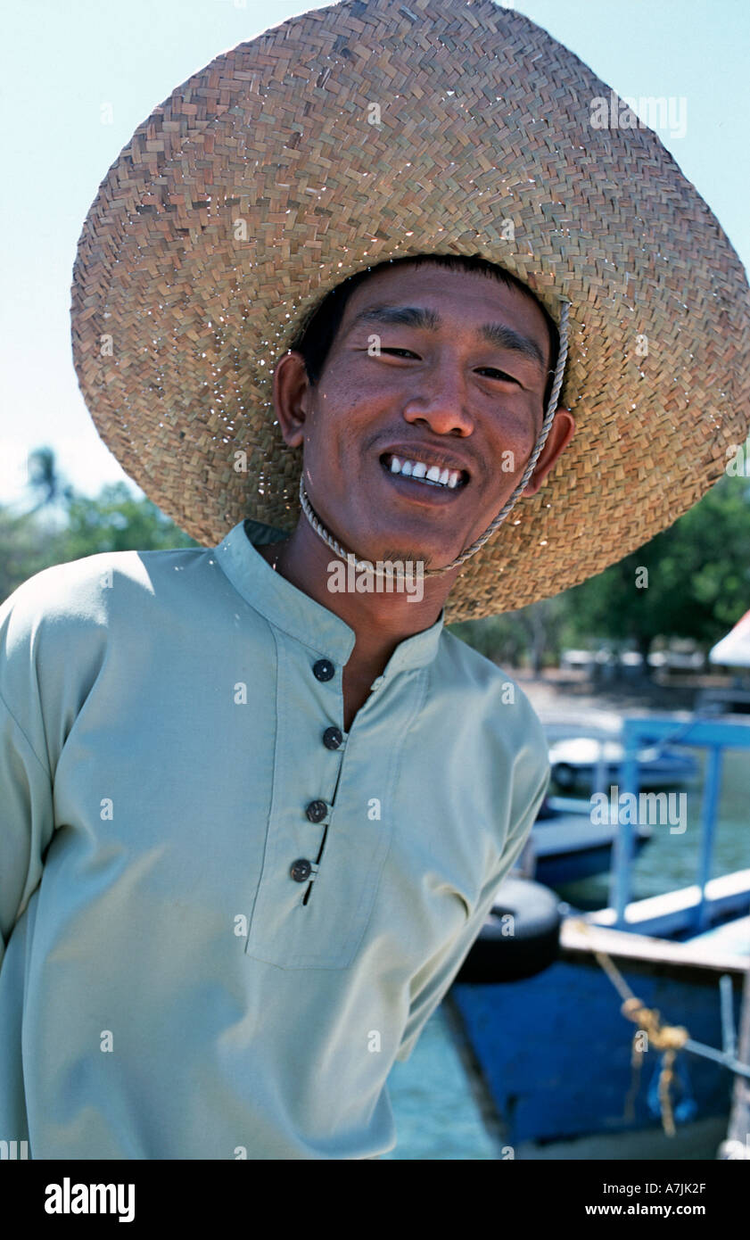 Friendly fisherman at Labuan Lalang The port serves the dive spot of Pulau Menjangan Bali Barat National Park N Bali Indonesia - Stock Image