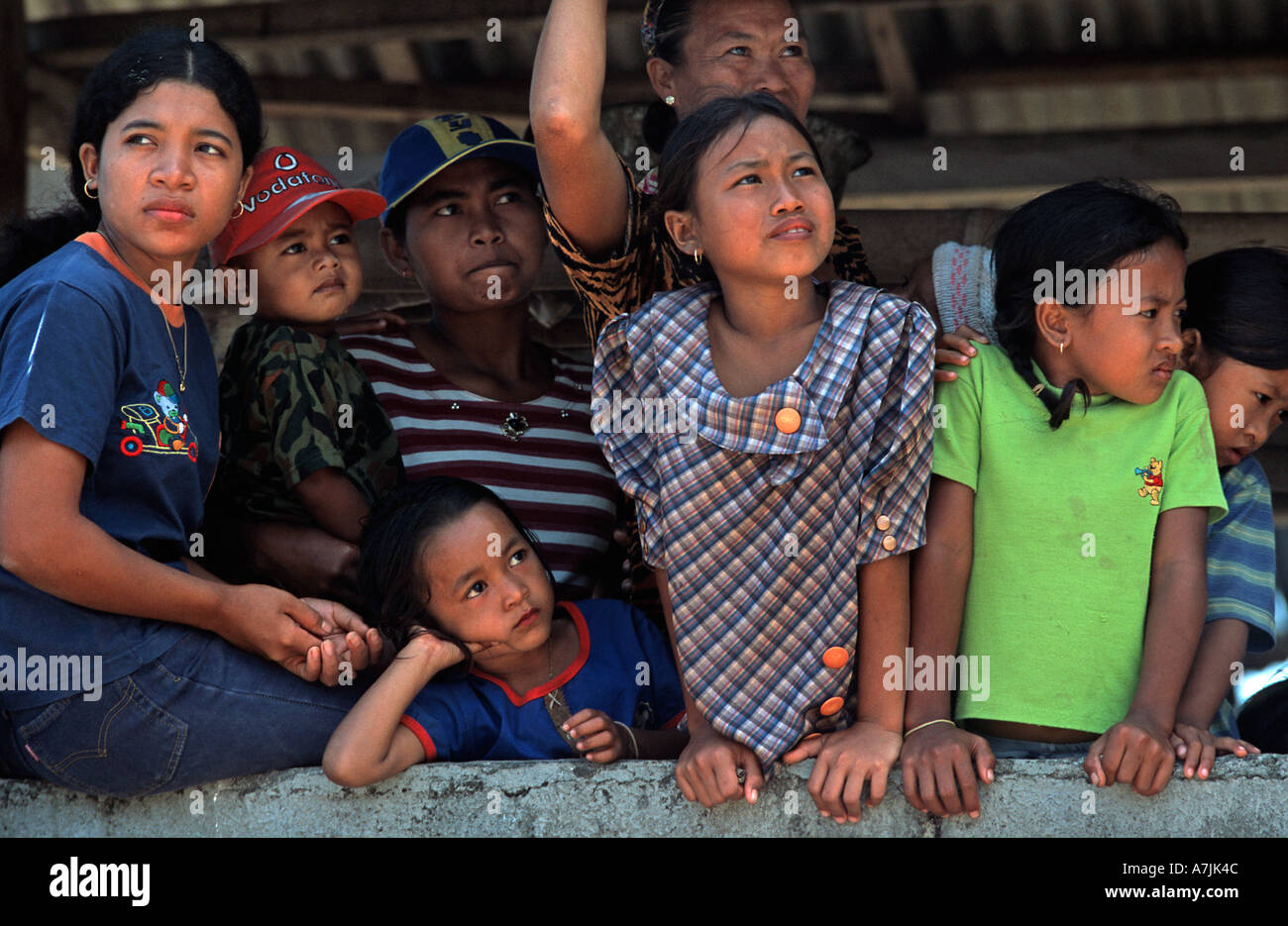 Group of Young Balinese women and children at Independence Day Celebrations Labuan Lalang N Bali Indonesia - Stock Image