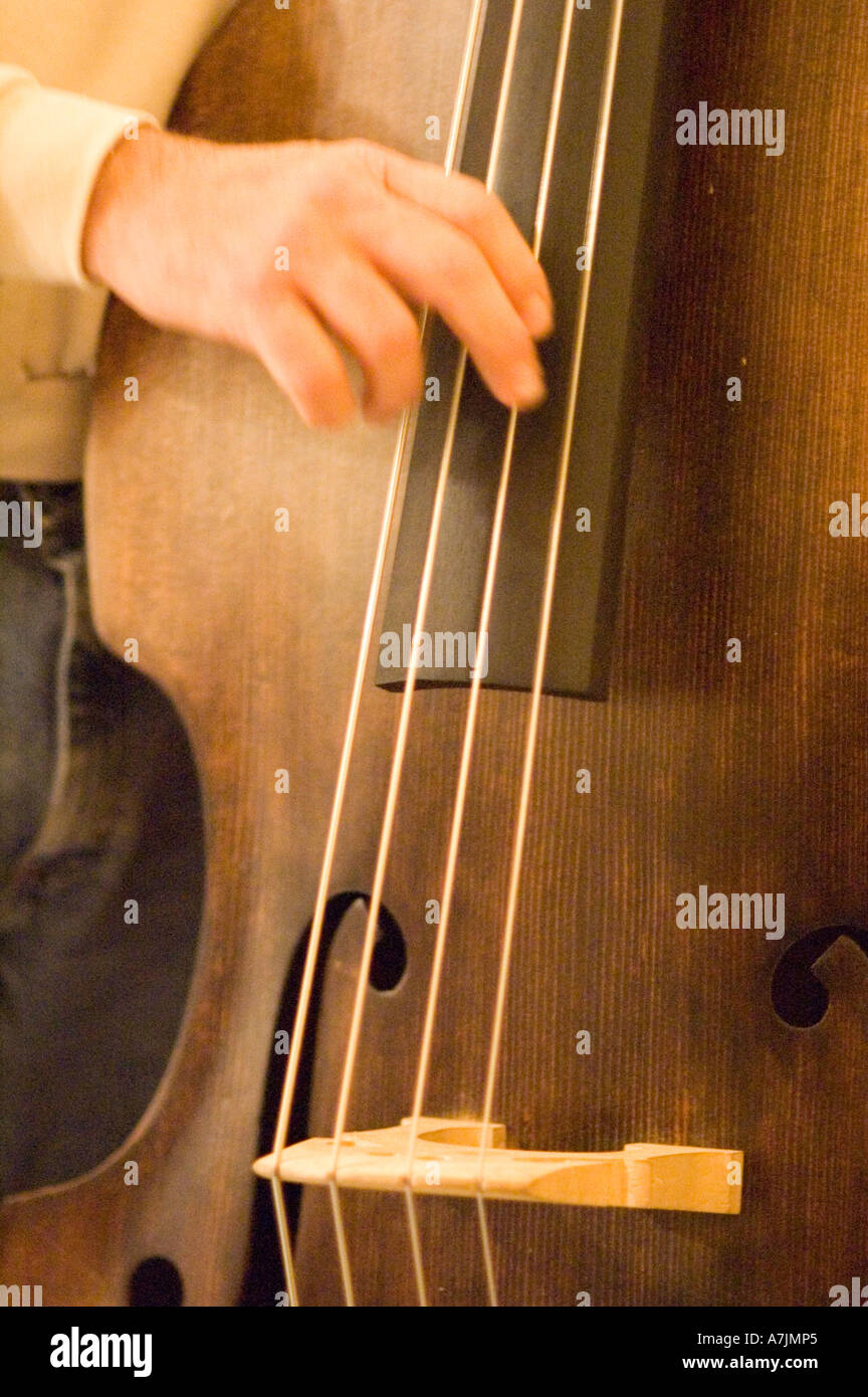 Close Up of an Upright Bass being played at Lee Schillings Old Time Pickin' Party, Cosby, East Tennessee Stock Photo