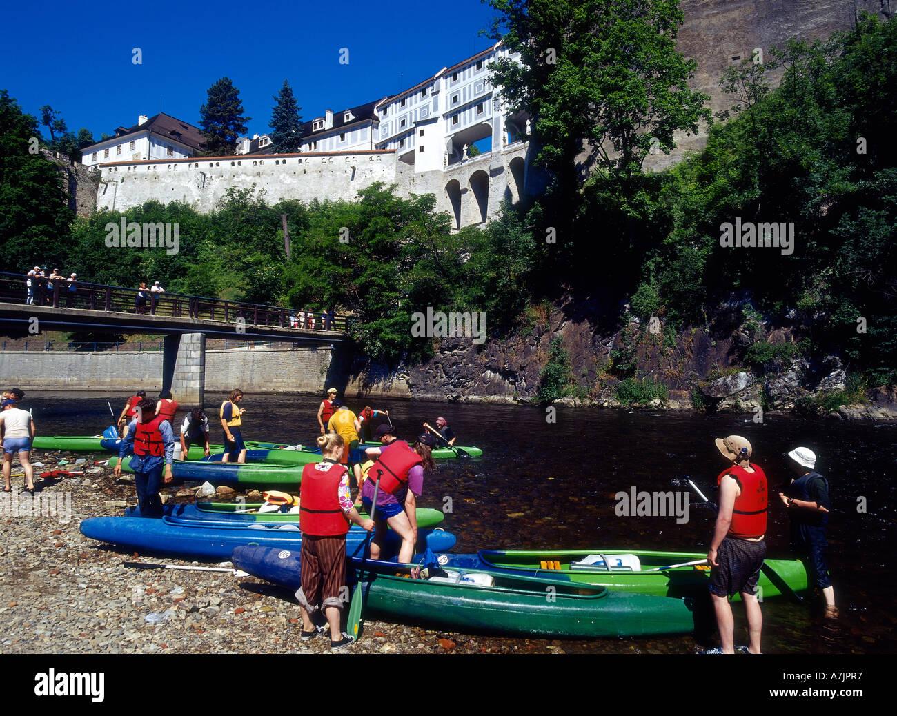 Cesky Krumlov, Canoeing, Castle, Bridge - Stock Image