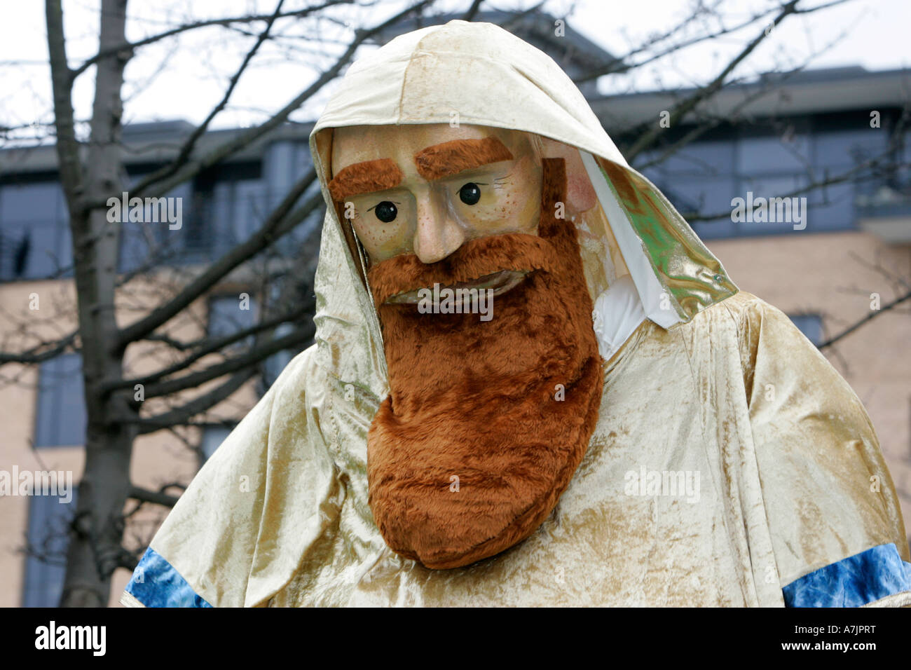 close up of large effigy of St Patrick in the Saint Patricks Day parade Belfast - Stock Image