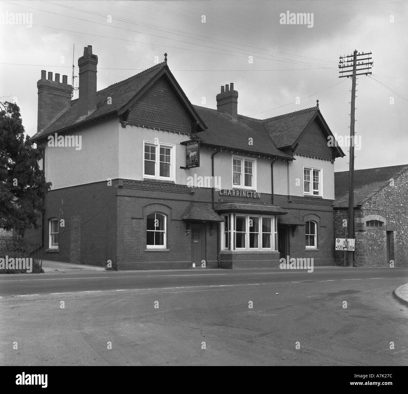 Now demolished White Horse Chard Somerset England pre 1975 in 6x6 number 0021 - Stock Image