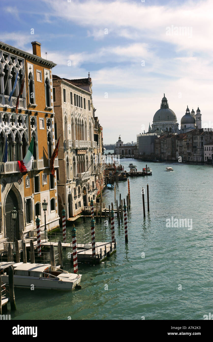World famous Grand Canal view in Venice from the Ponte dell Academia bridge Italy Europe EU - Stock Image