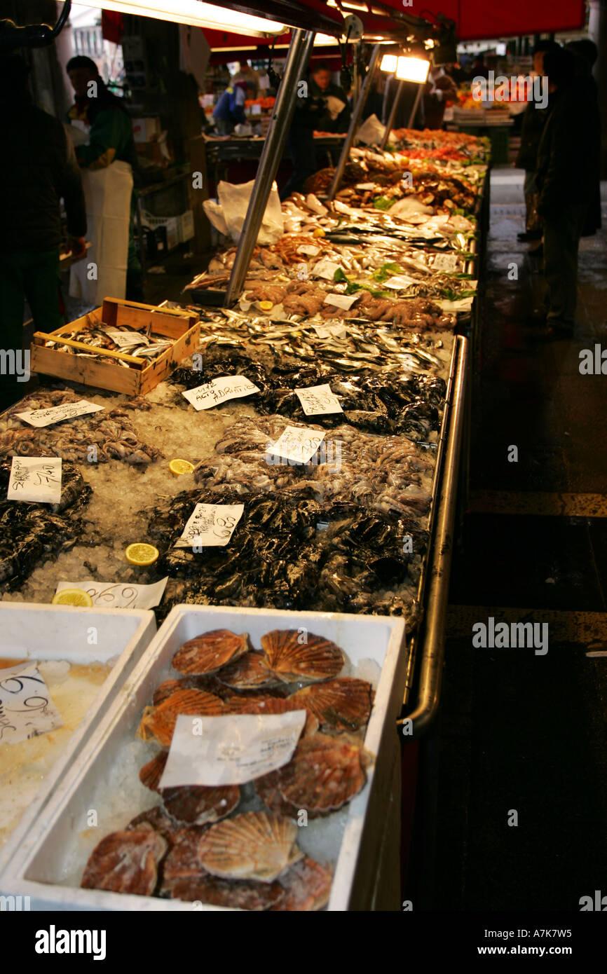 Fresh fish crabs shell fish on sale at this famous Venetian Prescaria fish market near Rialto Venice Italy Europe EU Stock Photo