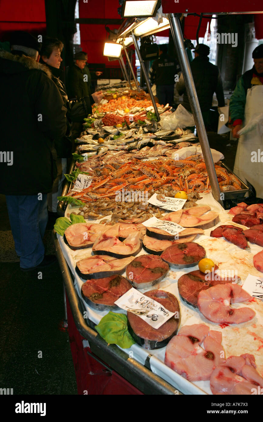 Fresh colourful healthy tuna fish steaks on sale at this famous Venice fish market Prescaria Venezia Italy Europe EU Stock Photo