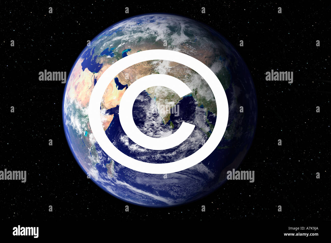 Concept image of the awareness of awareness of Copyright symbol now used to fight Piracy. Stock Photo