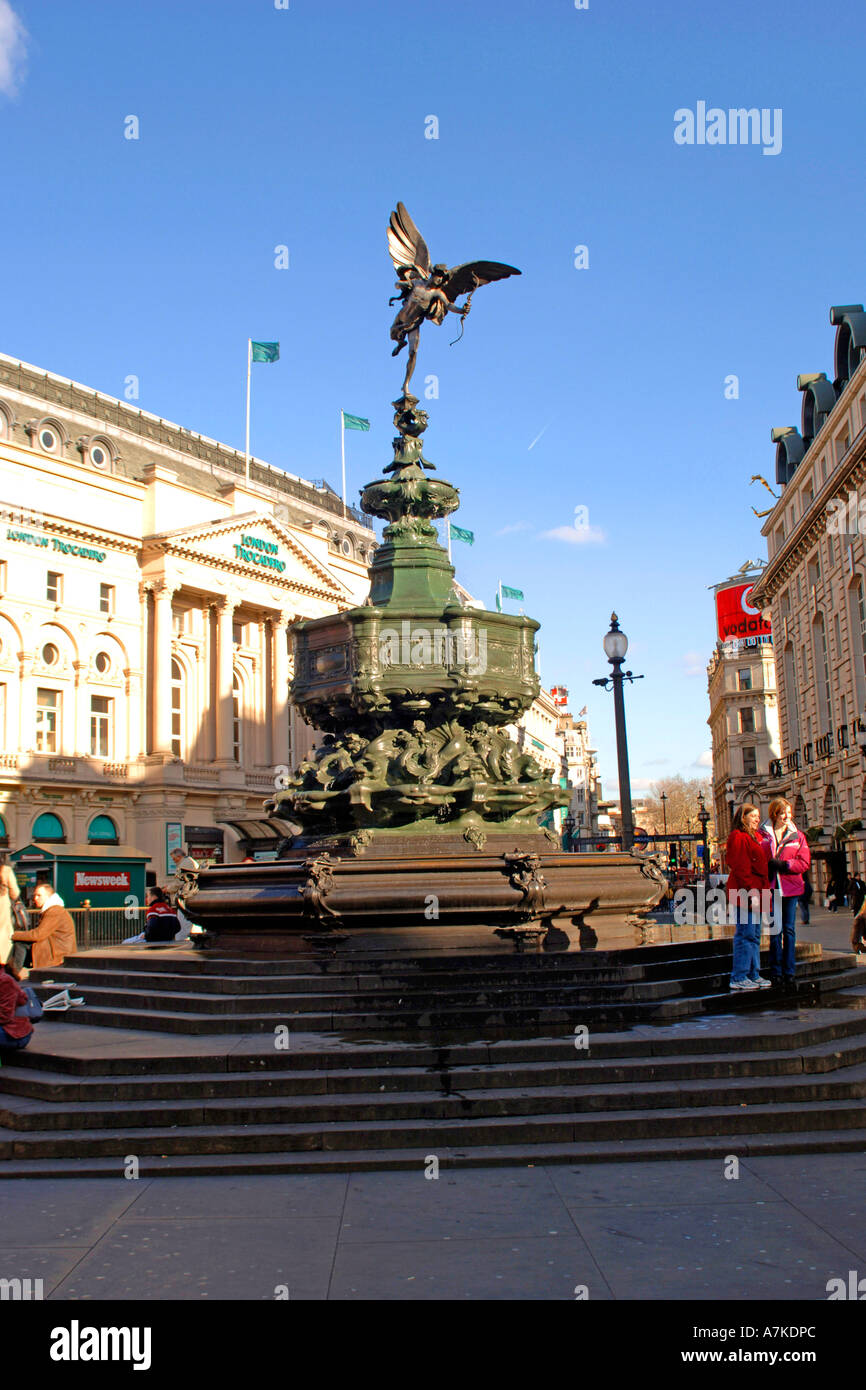 The statue of Eros in Picadilly, London. - Stock Image