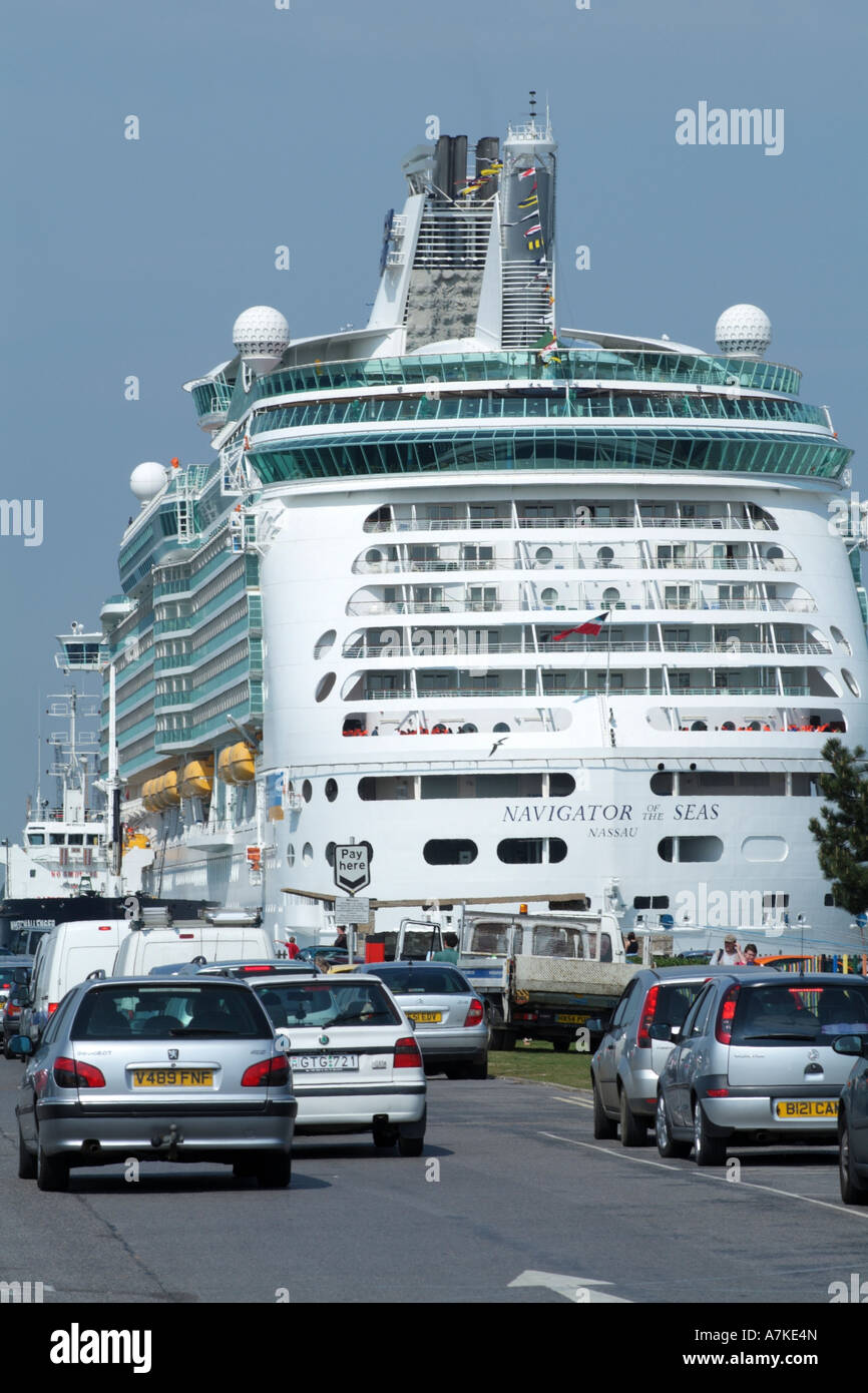 Port of Southampton Navigator of the Seas cruise ship alongside England UK - Stock Image