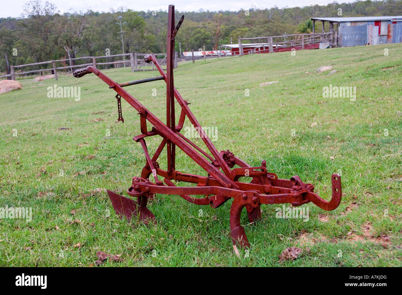 Old horse drawn plough - Stock Image