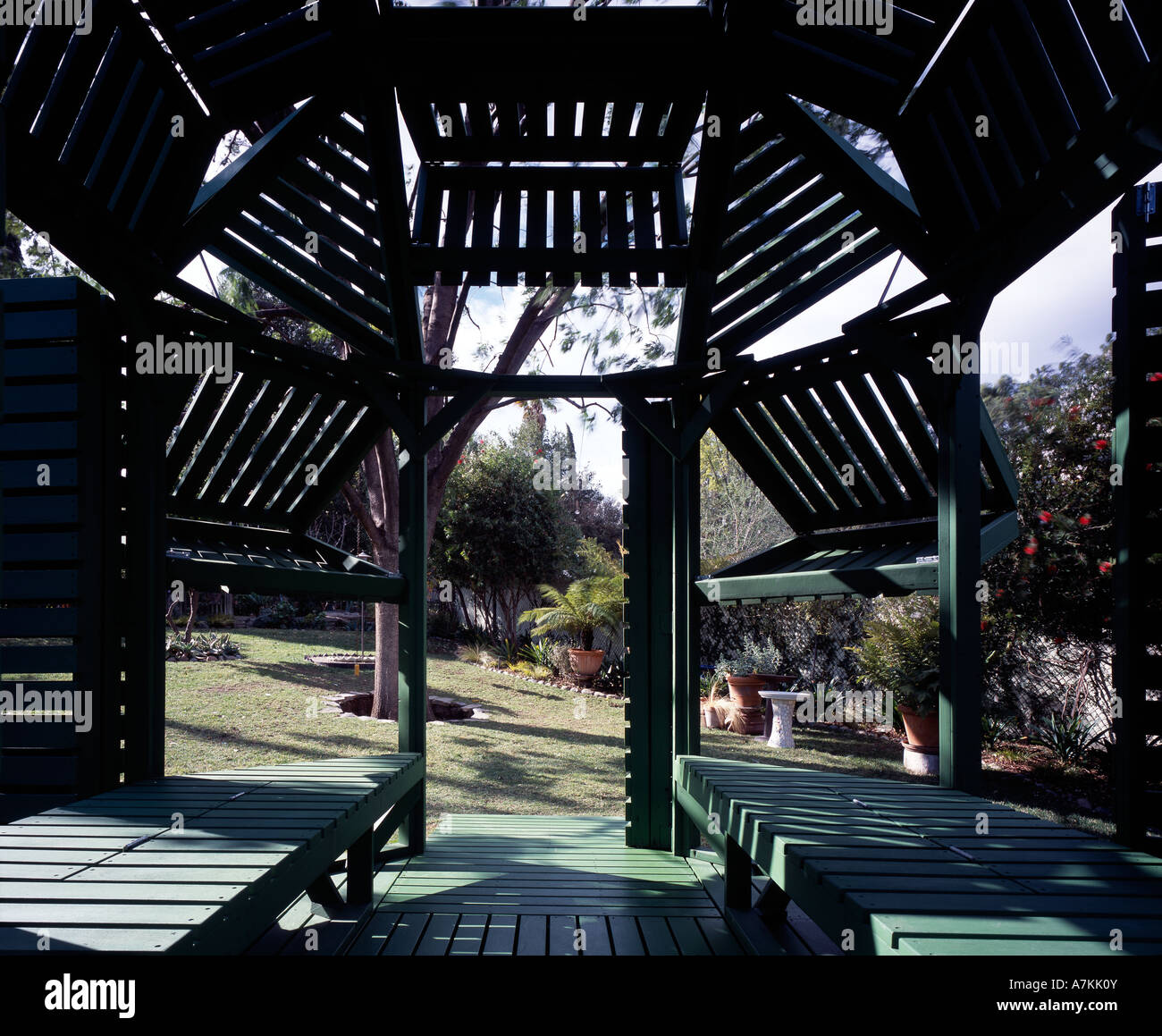 garden pool pavilion architect michael jantzen stock photo 11863610