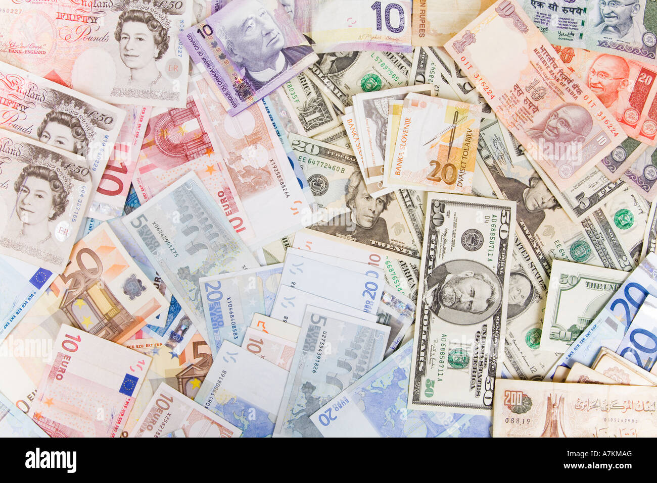 Various currencies, including US dollars, euros, pounds sterling