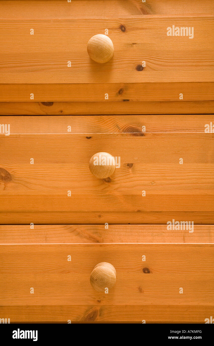 Detail of pine chest of drawers - Stock Image