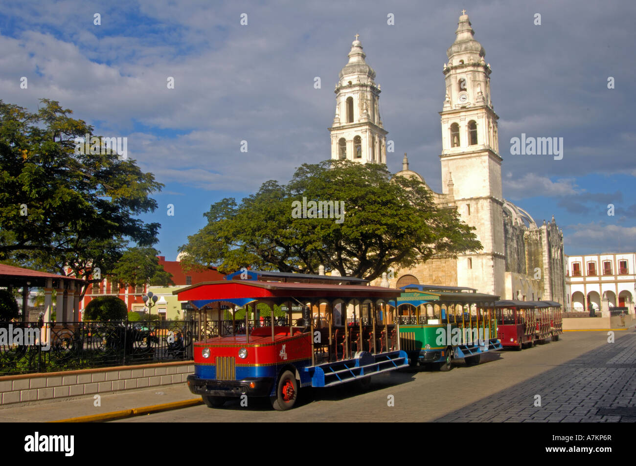 Tranvia parked by Parque Principal in Campeche Stock Photo