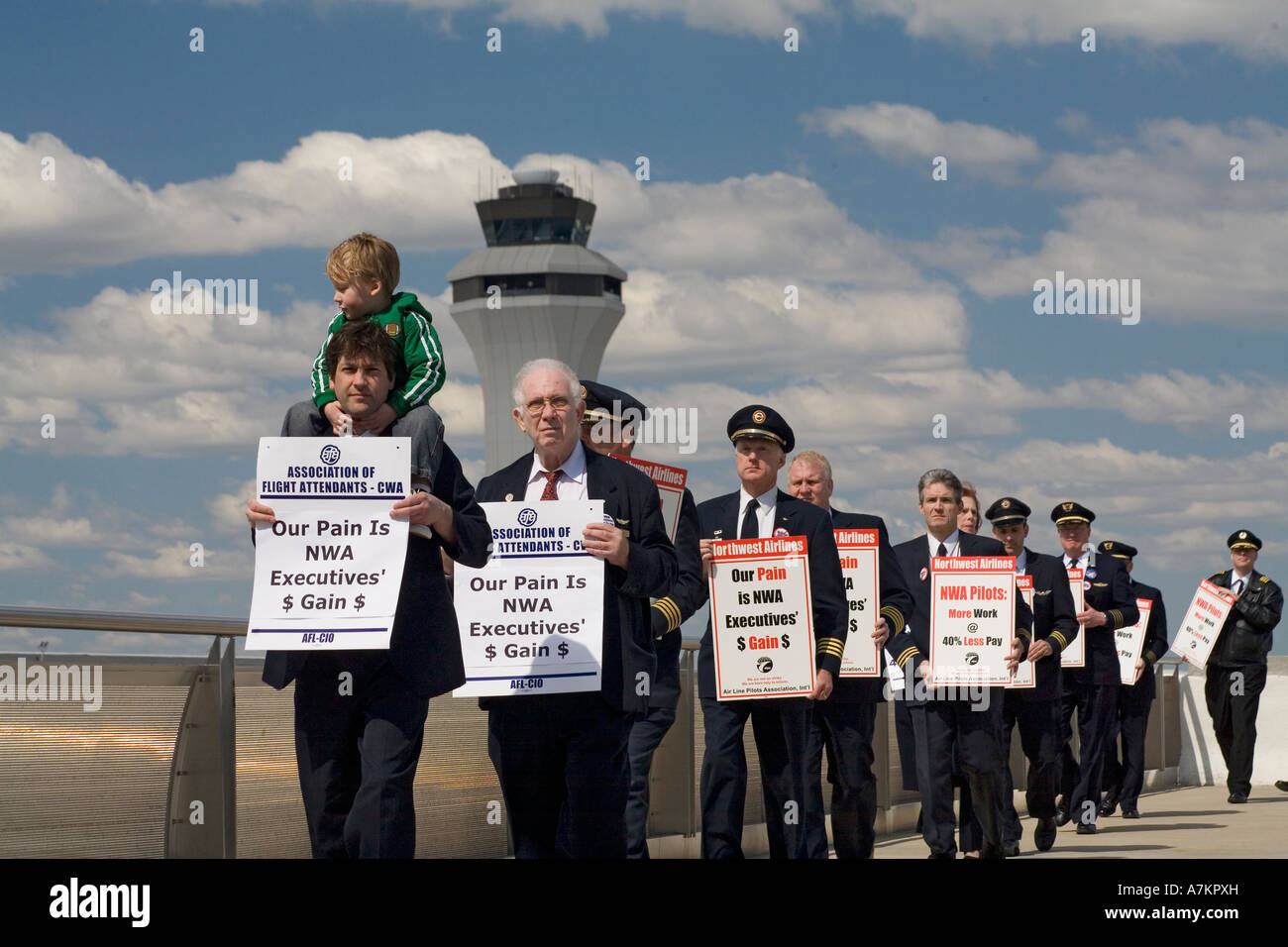Airline Workers Protest Executive Bonuses - Stock Image