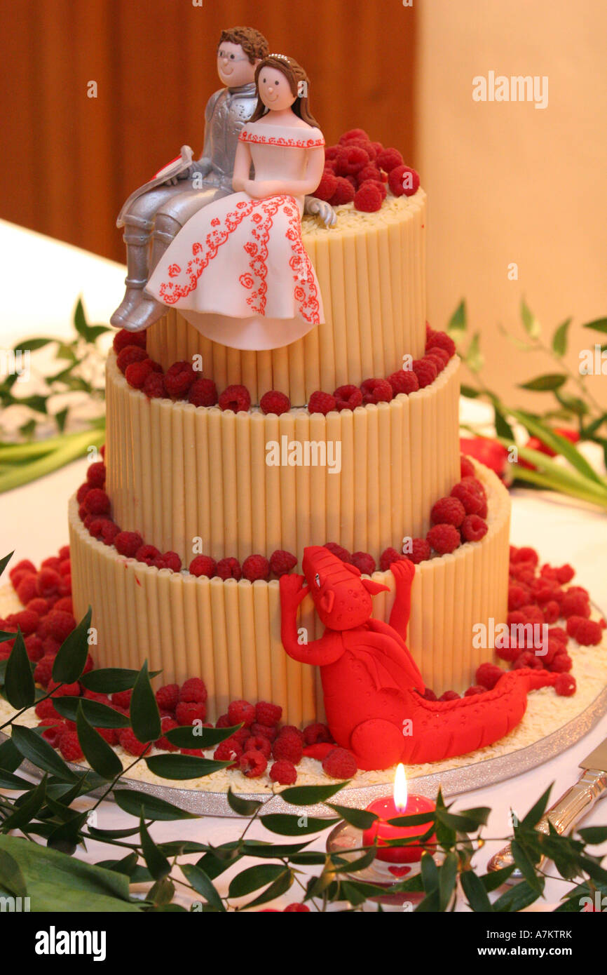 Closeup Detail Of A Modern Wedding Cake With Three White Chocolate