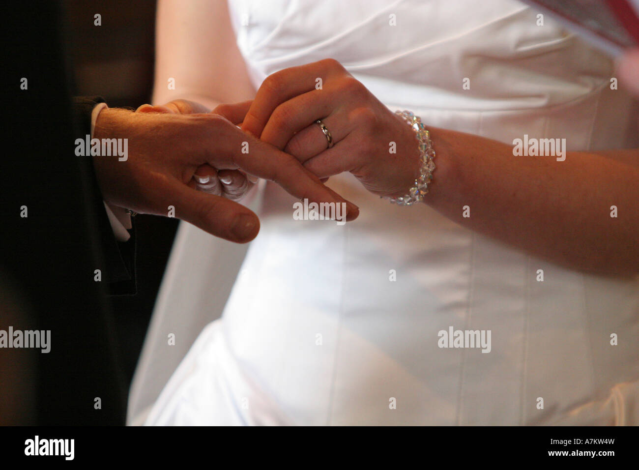 A Bride Pushes On Her Grooms Wedding Ring Band During The Exchange