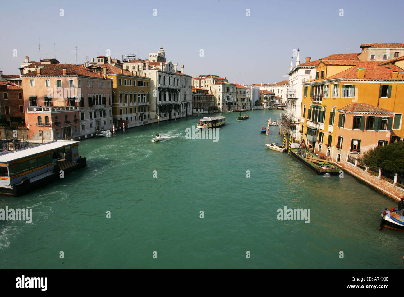 The Grand Canal in central Venice viewed from world famous landmark attraction the Academia bridge ponte dell academia Italy - Stock Image