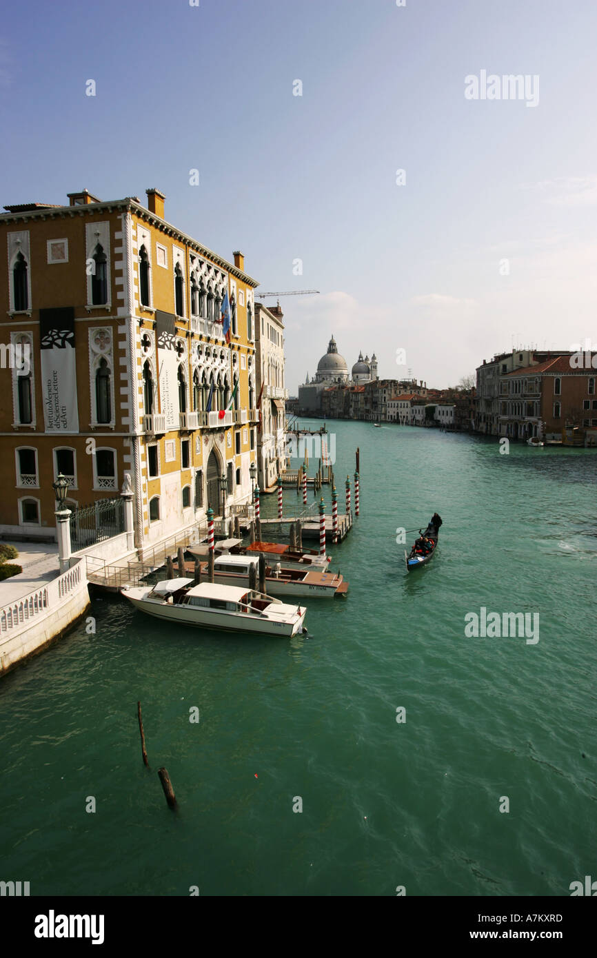 The Grand Canal in central Venice viewed from famous attraction landmark the Academia bridge Venice Italy Europe - Stock Image