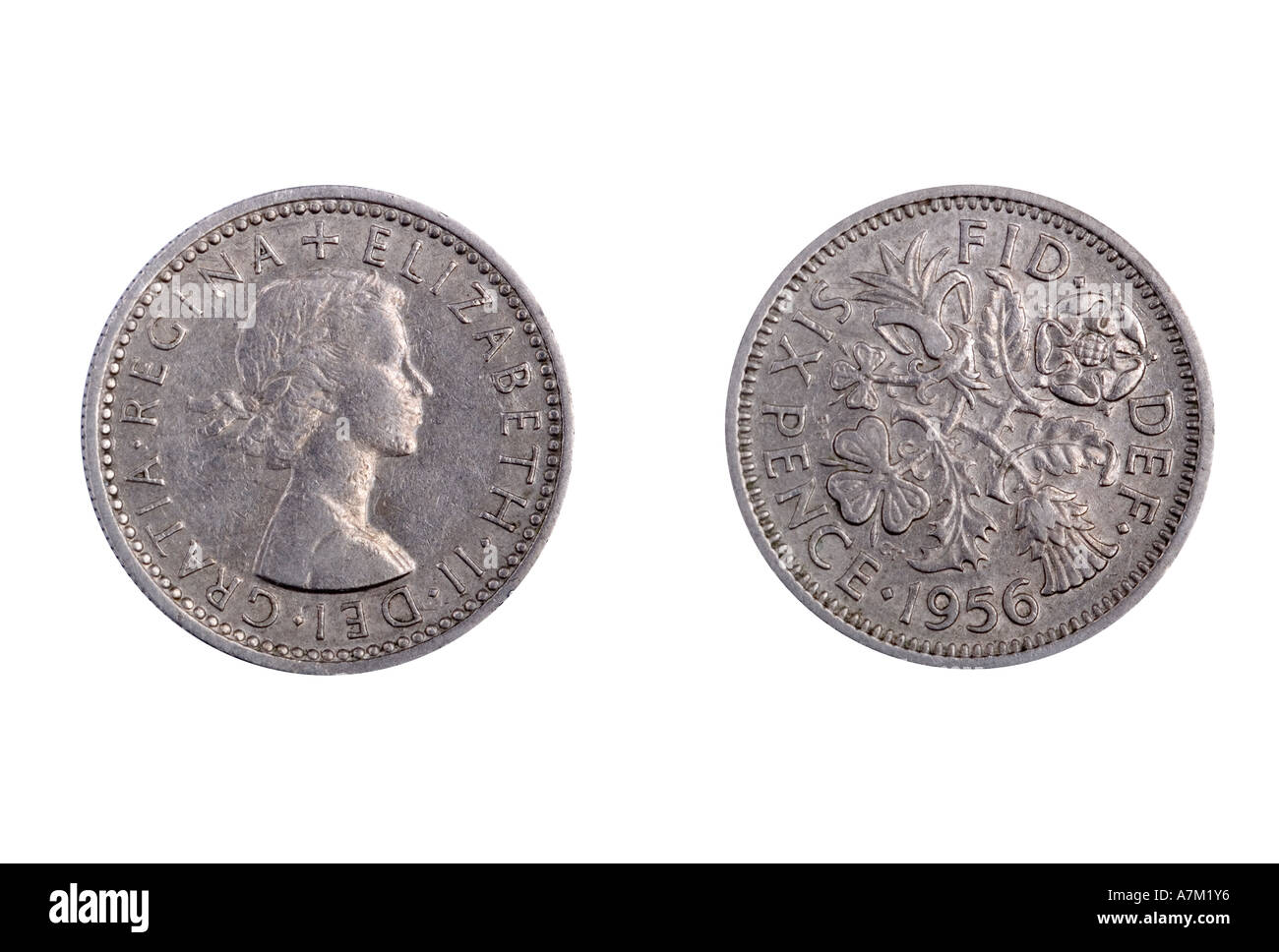 1956 sixpence. Ceased to be legal tender in 1980 - Stock Image