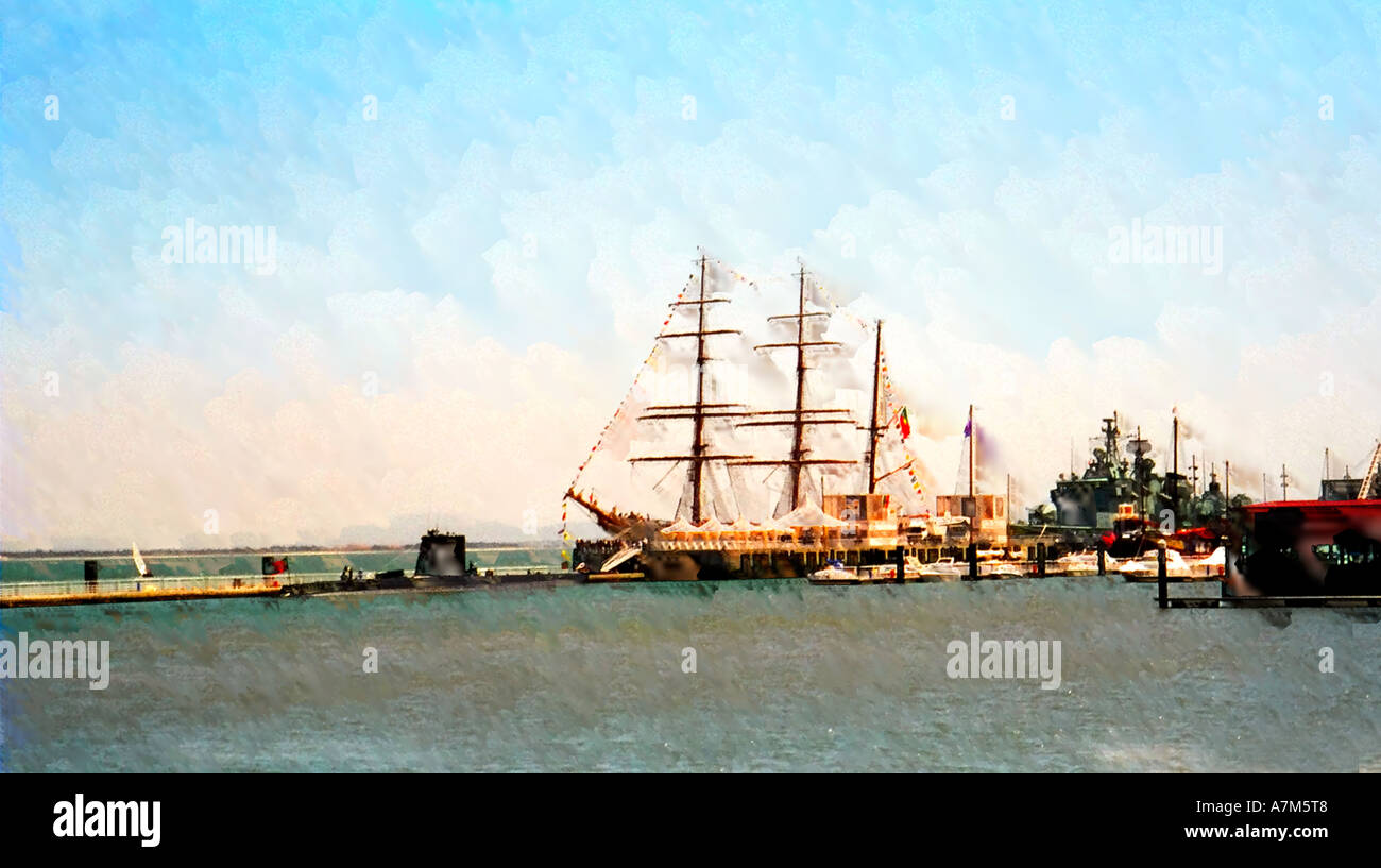 Sagres Sail Ship in the Docks Digital Painting - Stock Image