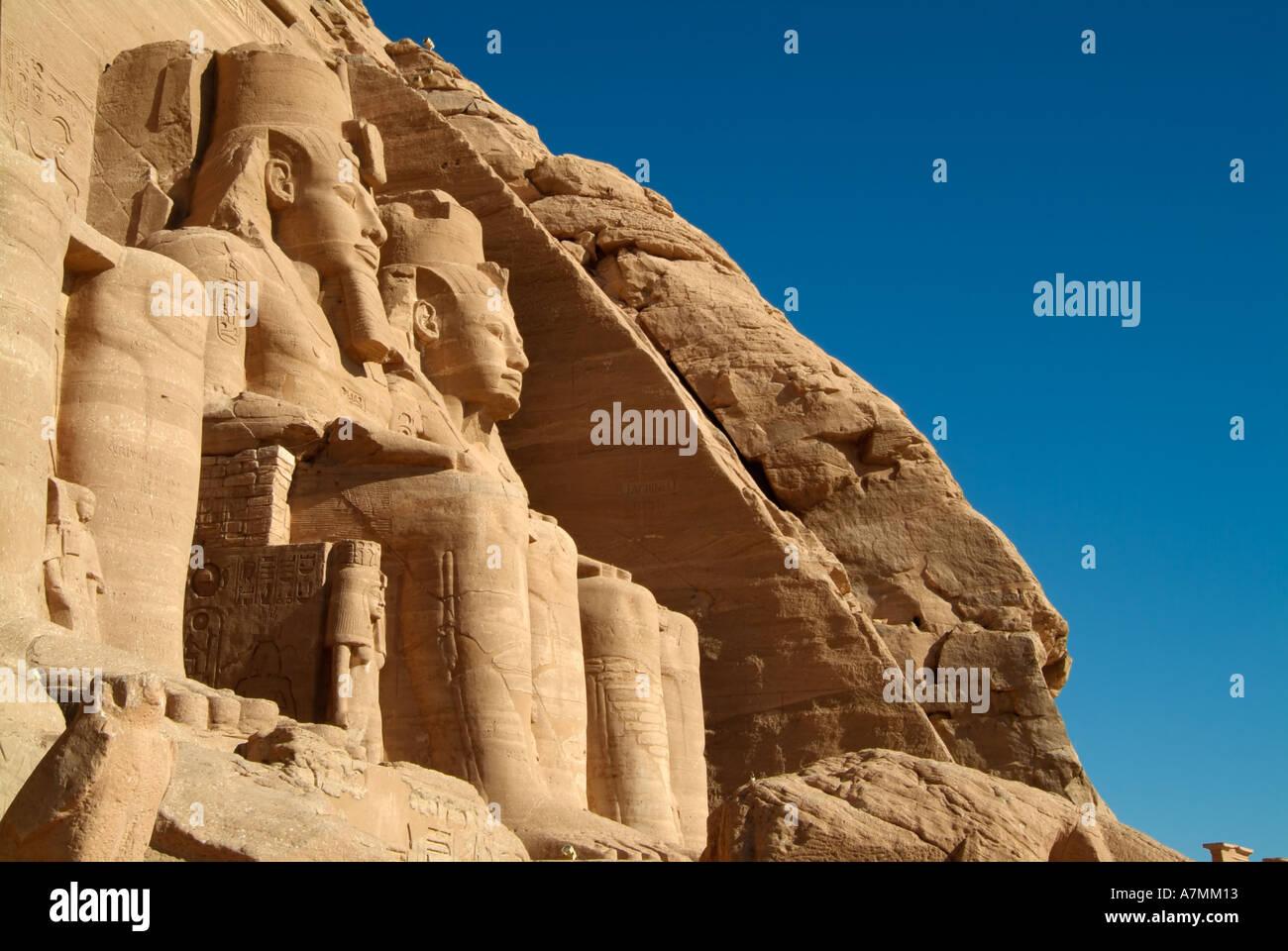 Colossal statues of Ramses II at Abu Simbel, Egypt - Stock Image