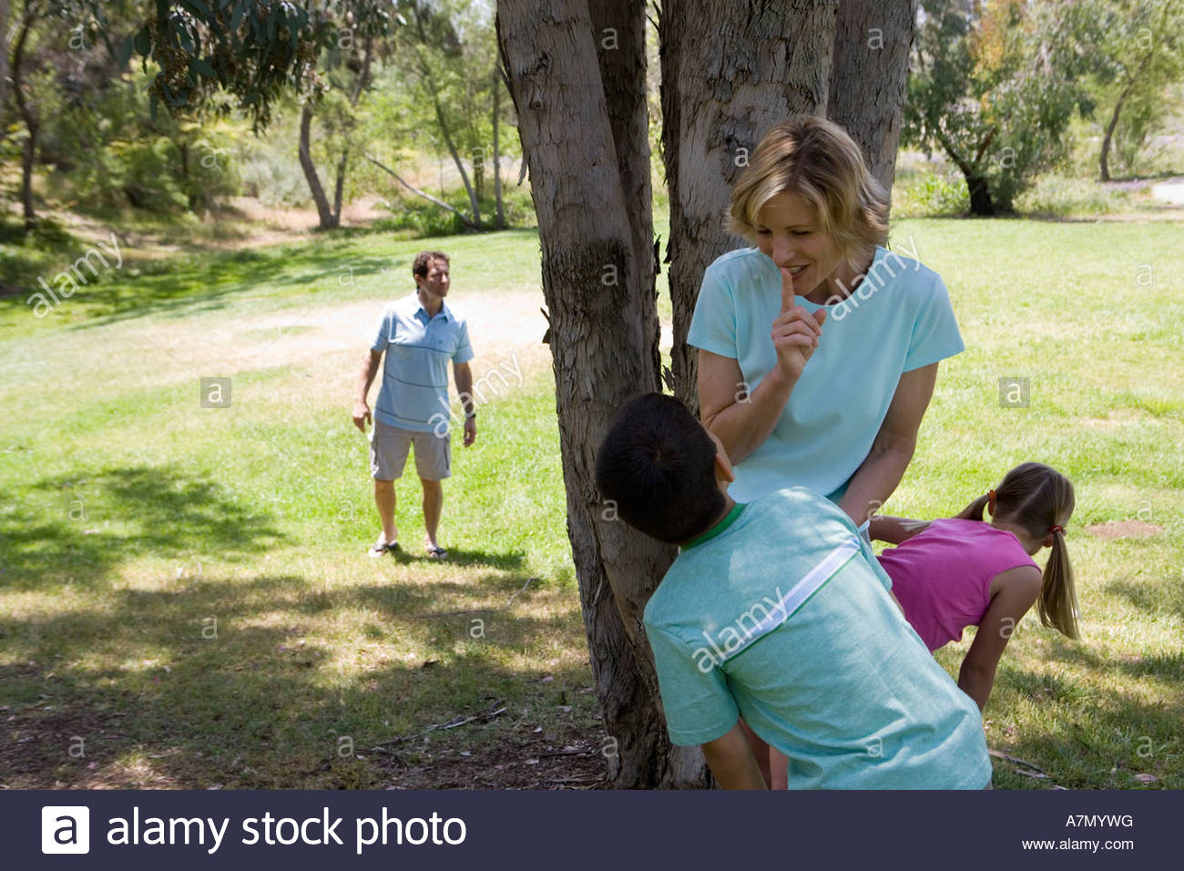 Family playing hide and seek in park mother and children 8 11 hiding behind tree father looking - Stock Image