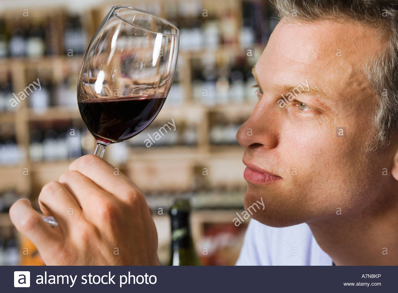 Man examining glass of red wine in off licence side view close up focus on foreground - Stock Image