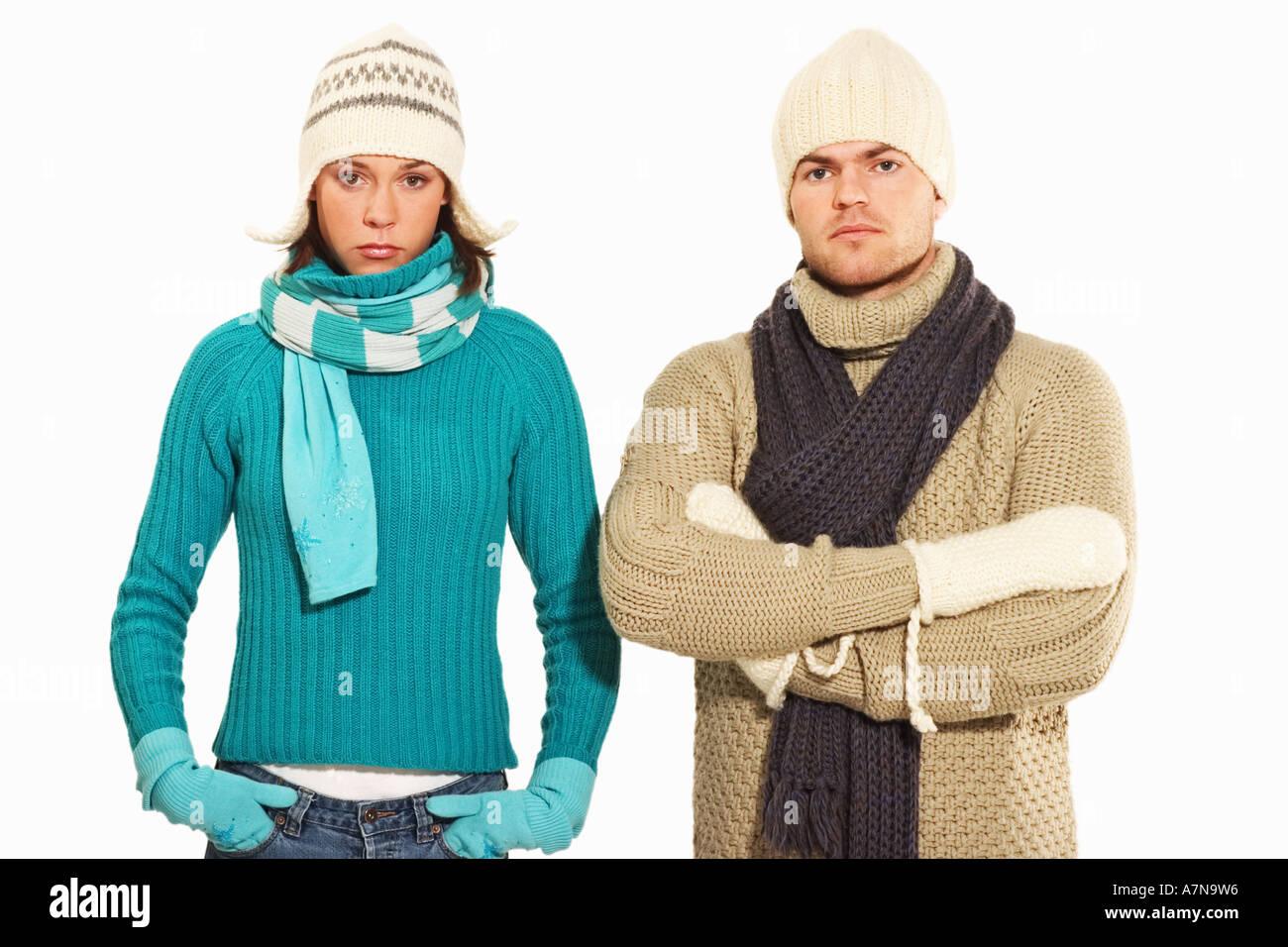 41884fc2b0e studio winter couple woman young man 25 30 cap scarf glove gloves sweater  sweaters blue fashion close up horizontal