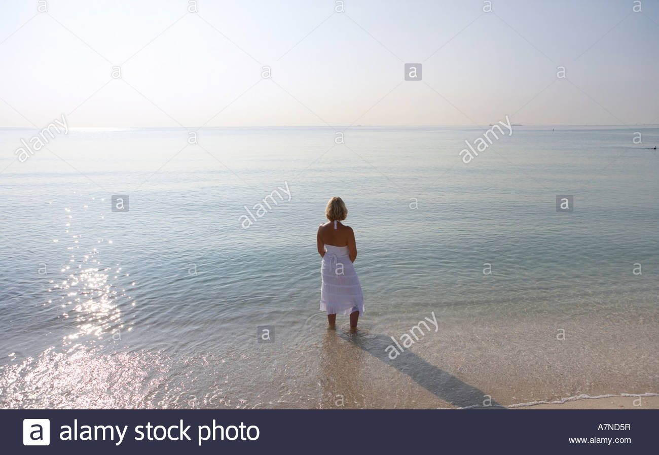 Woman standing on sunlit beach ankle deep in water looking at horizon over sea rear view - Stock Image
