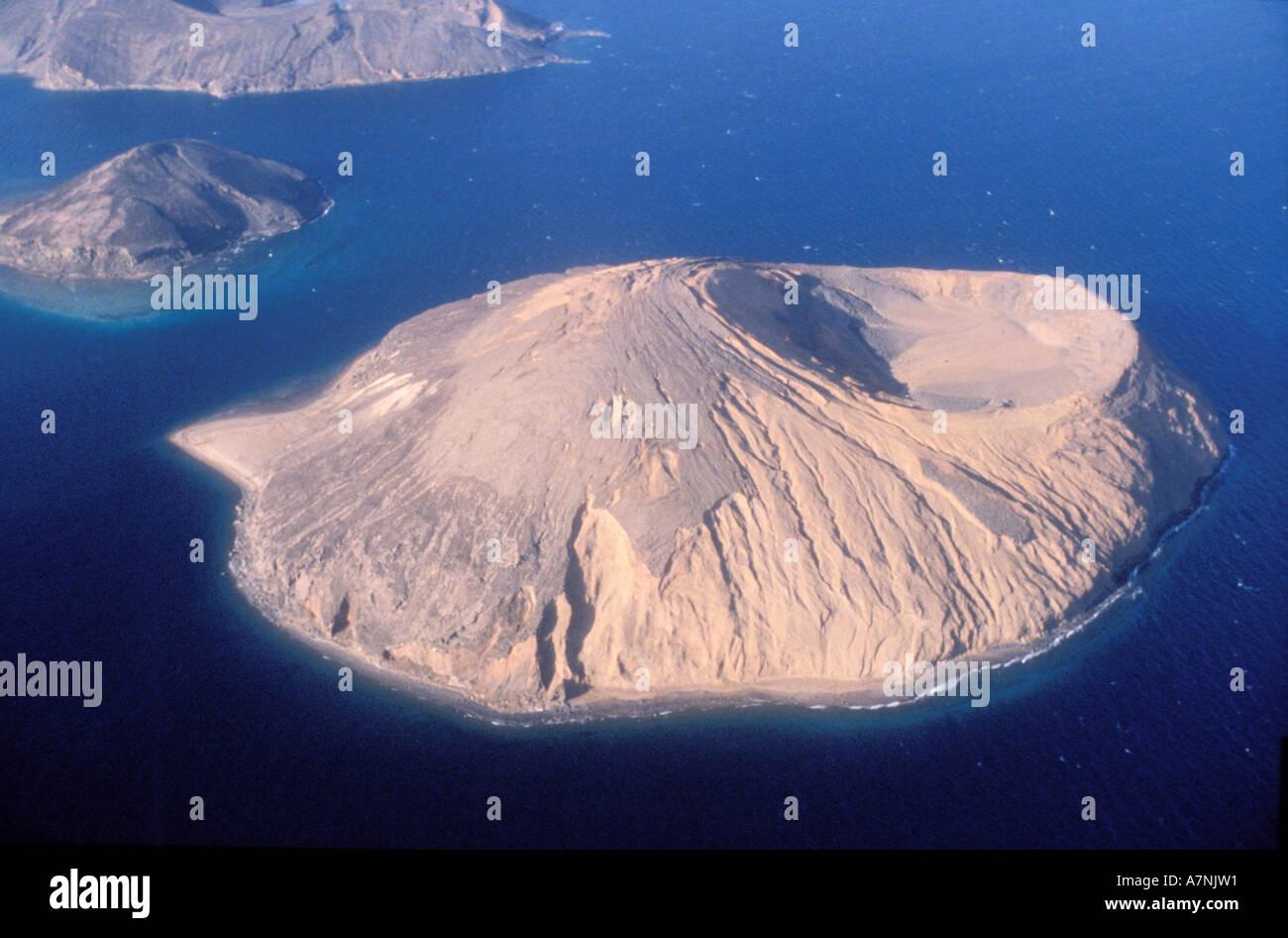 Djibouti, Tadjoura Gulf, Devil Island (Goubert al kharab lake) (aerial view) - Stock Image