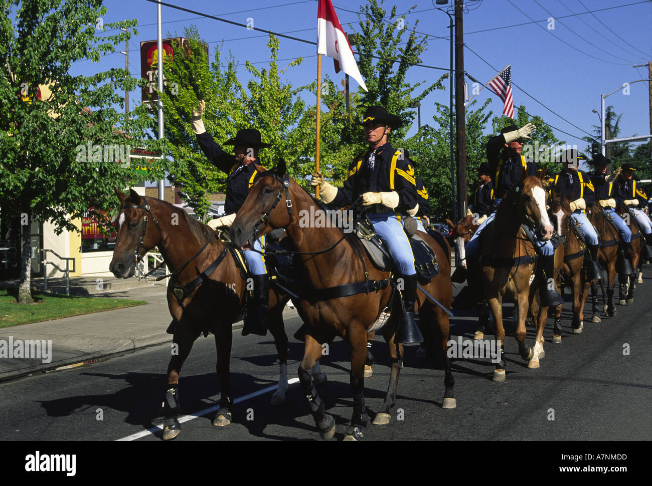 USA, Washington, Puyallup. US Army 1st Calvary Division Horse Cavalry Detachment; Western Rodeo Parade - Stock Image