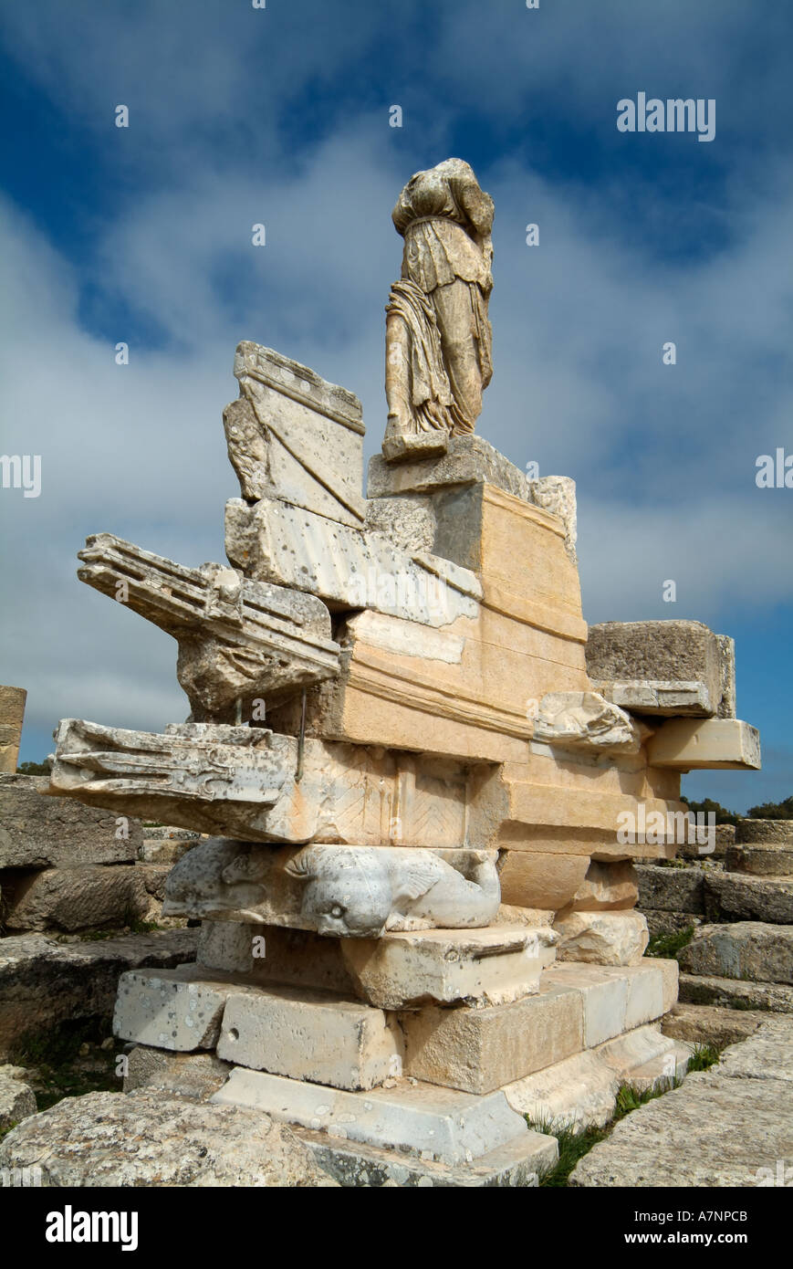 Naval monument, Agora, Cyrene Greek / Roman ruins, Libya Stock Photo