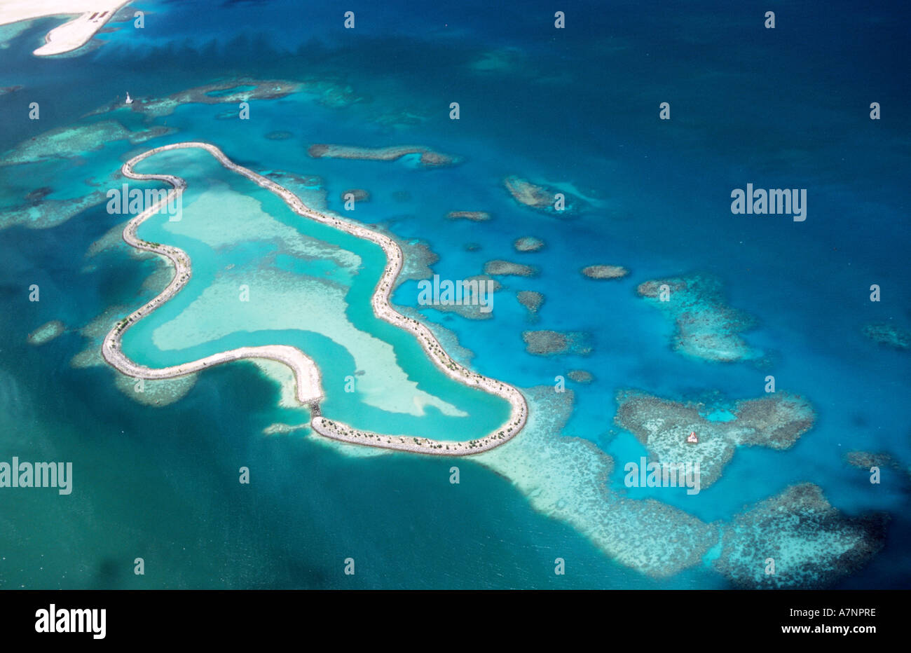 Seychelles (aerial view) of a lagoon - Stock Image