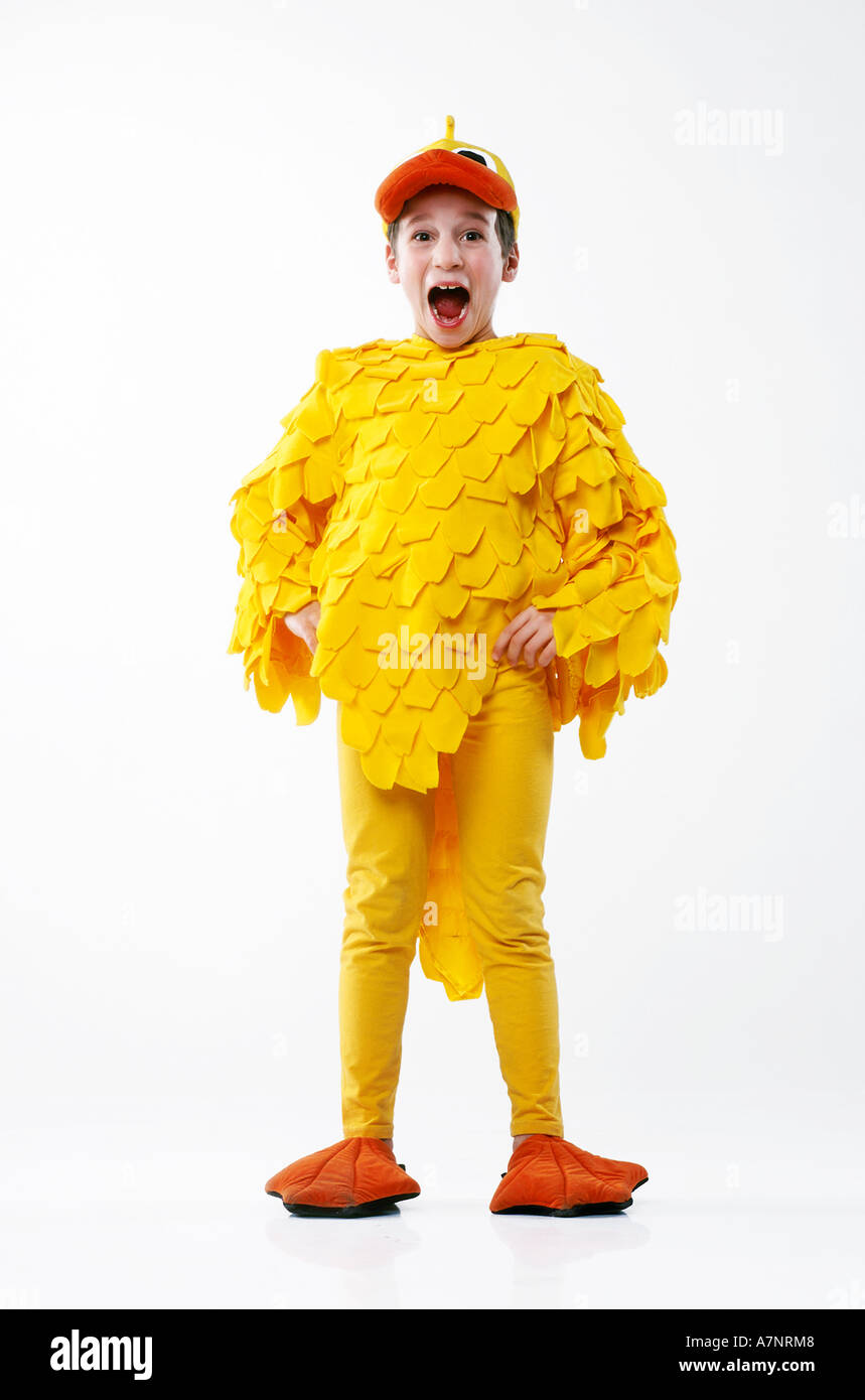 indoor studio child boy 5 10 outfit disguise costume duck duckling chicken hen feather feathers yellow cap beak bill nose bow  sc 1 st  Alamy & indoor studio child boy 5 10 outfit disguise costume duck duckling ...