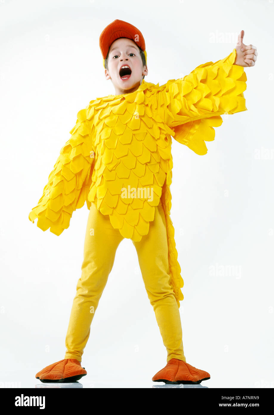 91e33b91bf628 Indoor Studio Child Boy 5 10 Outfit Disguise Costume Duck Duckling Chicken  Hen Feather Feathers Yellow Sc 1 St Alamy