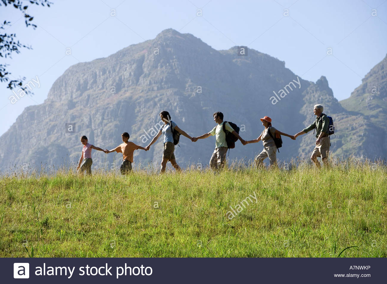 Multi generational family hiking on mountain trail walking in line all holding hands side view - Stock Image