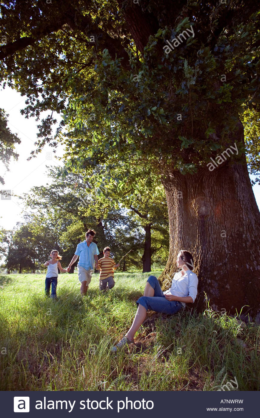 Father walking hand in hand with two children 7 10 in woodland clearing mother resting against tree Stock Photo