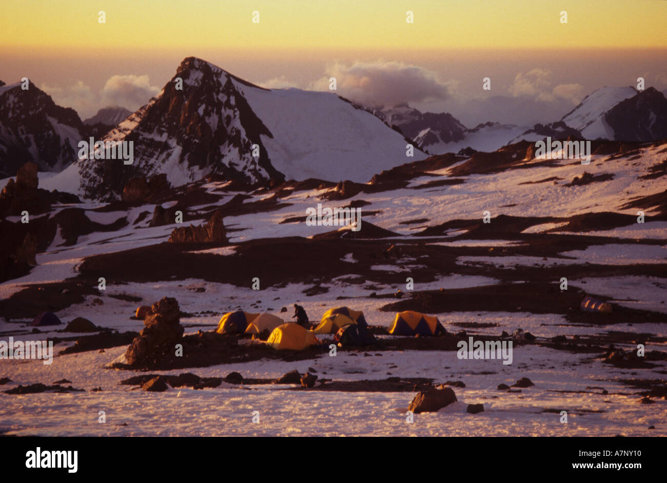 Sunset on camp at Nido de Condores, 5570 metres up Mount Aconcagua in Argentina Stock Photo