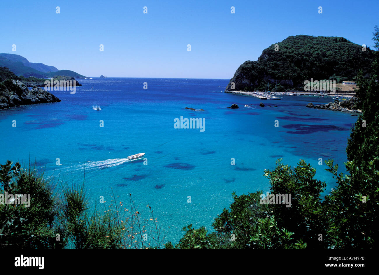 Greece, Ionian Islands, Corfou, Paleokatrista bay - Stock Image