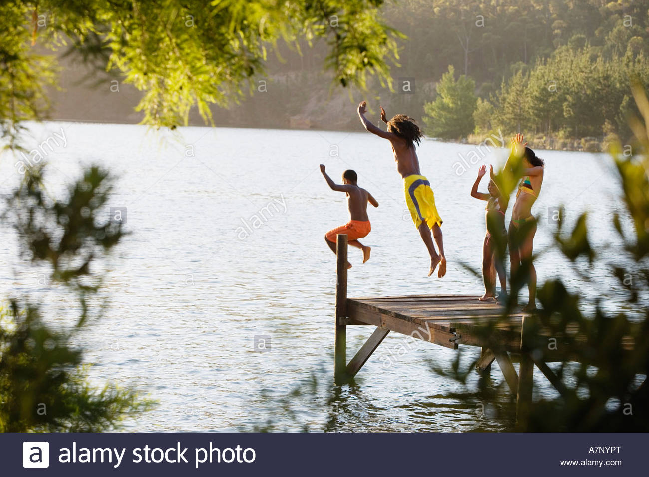 Father and son 8 10 in swimwear jumping off jetty into lake mother and daughter 7 9 cheering rear view - Stock Image