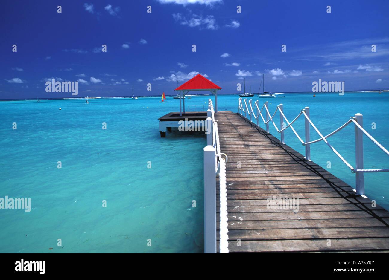 France, Guadeloupe, Grande-Terre, pontoon of Meridien hotel in Saint-Francois - Stock Image